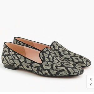 NWT JCREW METALLIC LEOPARD JACQUAR SMOKING SLIPPER